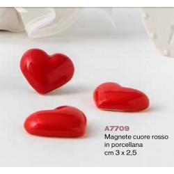 Magnete Cuore rosso in porcellana