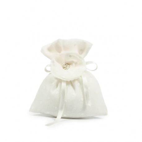 Busta bianca in plumetile con fiore