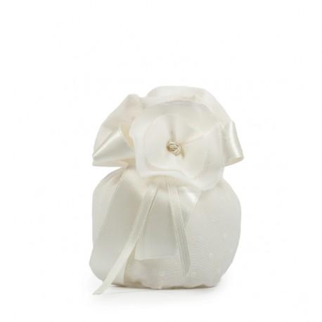 Sacchetto in plumetile con fiore  - Linea Laurus