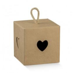 Scatola cubo Cuore 5x5x5 avana