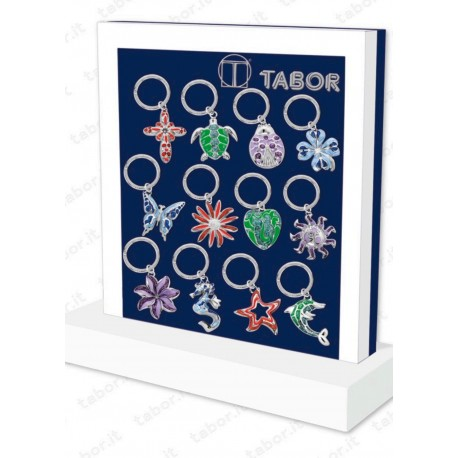 Portachiavi in argento laccato con punti luce - Tabor