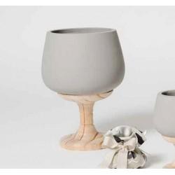 Bicchiere in cemento e legno - AD Bomboniere