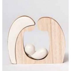 Cuore in legno e porcellana - AD