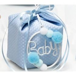 Cerchio Baby con pon pon celeste - RedRose