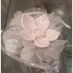 Cuore con rosa in porcellana, Completo -Cherry&Peach