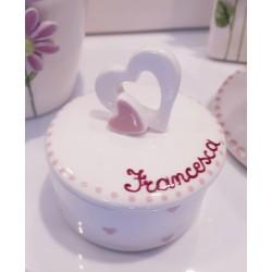 Scatola tonda con cuore in ceramica