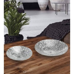 Ciotola in vetro con argento reticolato - Fantin