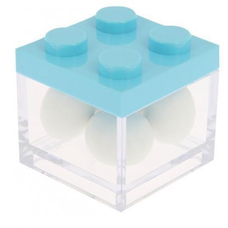 Box Lego in plexiglass 5x5x5 Rosa/trasp.