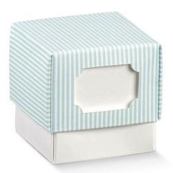 Scatole Chic Fleur 9x9x9 - Millerighe Azzurre -10Pz