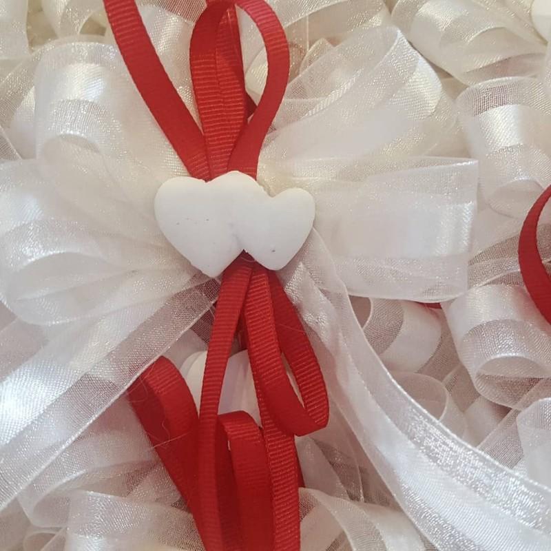 Segnaposto Matrimonio Rosso.Segnaposto Cuori In Rosso E Bianco Confettimatti