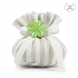 Puffo Lino rigato con quadrifoglio - linea marshmallow