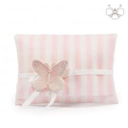 Busta Lino rigata con farfalla - linea marshmallow